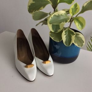 Vintage YSL White Heels with Golden Wood accent